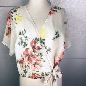 Zara Sheer off white floral wrap crop top SZ S